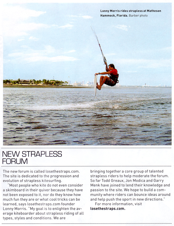 Article on Lose the Straps from SBC Kiteboard Summer 2008